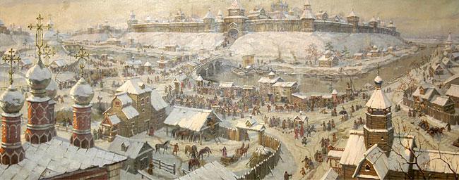Торг у Рязанского кремля в XVII веке